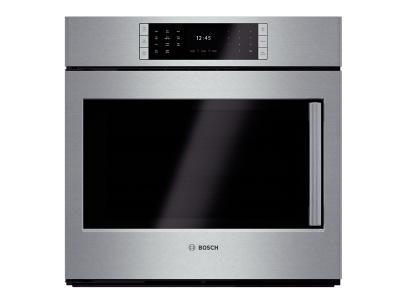 """30"""" Bosch 4.6 Cu. Ft. Benchmark Series Single Wall Oven With Left Swing Door In Stainless Steel - HBLP451LUC"""