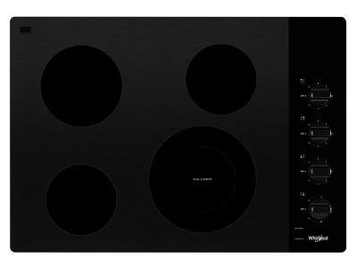 """30"""" Whirlpool Electric Ceramic Glass Cooktop with Dual Radiant Element - WCE55US0HB"""