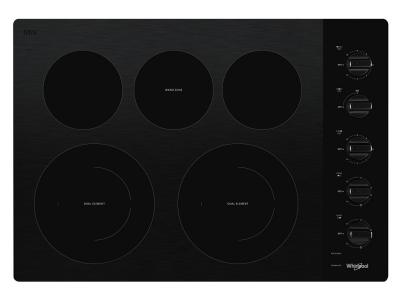 """30"""" Whirlpool Electric Ceramic Glass Cooktop with Two Dual Radiant Elements - WCE77US0HB"""