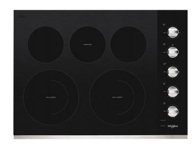 """30"""" Whirlpool Electric Ceramic Glass Cooktop with Two Dual Radiant Elements - WCE77US0HS"""
