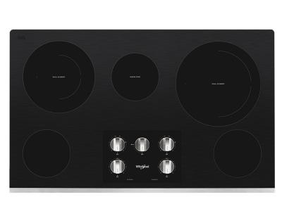 """36"""" Whirlpool Electric Ceramic Glass Cooktop with Two Dual Radiant Elements - WCE77US6HS"""