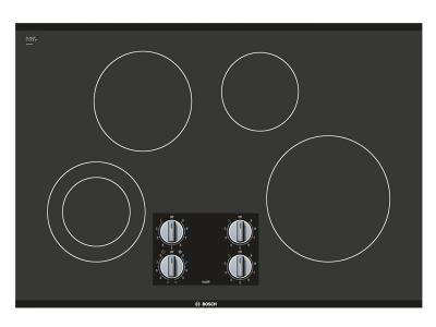 """30"""" Bosch 500 Series Black Frameless Electric Cooktop - NEM5066UC"""