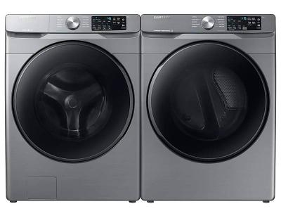 """27"""" Samsung Smart Front Load Washer With Large Capacity And Electric Dryer With Steam Sanitize Of 6100P Pair - WF45R6100AP-DVE45T6100P"""