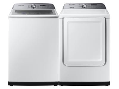 """27"""" Samsung Top Load Washer With Active WaterJet And Electric Dryer With Energy Star Certification - WA50R5200AW-DVE50T5205W"""