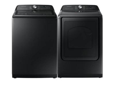"""28"""" Samsung 5.8 Cu. Ft Capacity Top Loading Washer and 27"""" Electric Dryer with 7.4 Cu. Ft. Capacity  - WA50A5400AV-DVE50A5405V"""