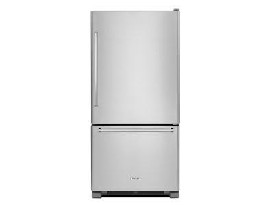 "33"" KitchenAid 22 Cu. Ft. Full Depth Non Dispense Bottom Mount Refrigerator - KRBR102ESS"