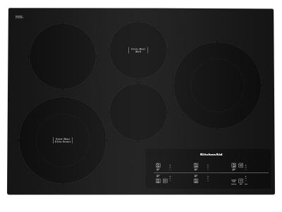 """30"""" KitchenAid Electric Cooktop With 5 Elements And Touch-Activated Controls In Black - KCES950KBL"""