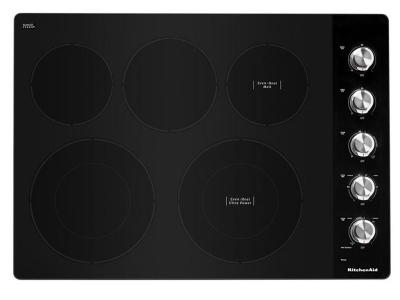 """30"""" KitchenAid Electric Cooktop With 5 Elements And Knob Controls - KCES550HSS"""