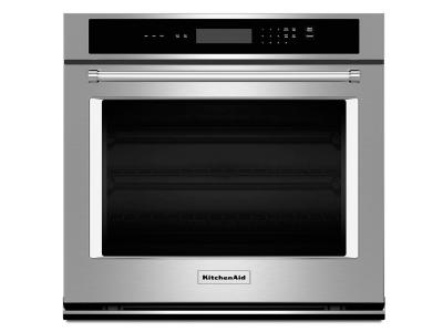 """27"""" KitchenAid 4.3 Cu. Ft. Single Wall Oven With Even-Heat Thermal Bake/Broil - KOST107ESS"""
