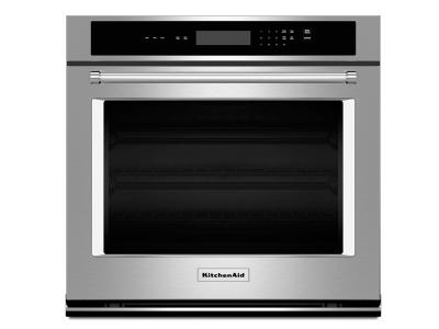 """30"""" KitchenAid 5.0 Cu. Ft. Single Wall Oven With Even-Heat Thermal Bake/Broil - KOST100ESS"""