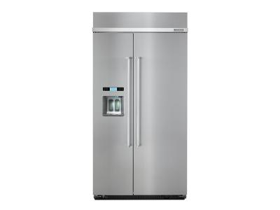 """42"""" KitchenAid 25.5 Cu. Ft. Built-In Side by Side Refrigerator - KBSD602ESS"""