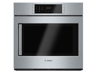 """30"""" Bosch 4.6 Cu. Ft. Benchmark Single Wall Oven Right Side Opening Door - HBLP451RUC"""